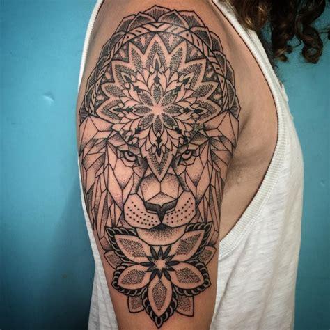 lion geometric tattoo geometric mandala dotwork done thetruetattoo