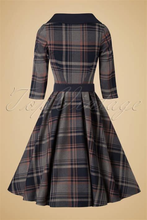 swing dress tartan 40s genevieve lee tartan swing dress in navy