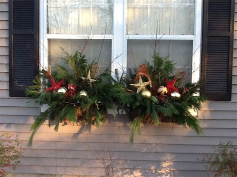 holiday window boxes christmas outside pinterest