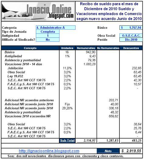 sueldos de la construccion liquidaci 243 n de vacaciones 2010 empleados de comercio