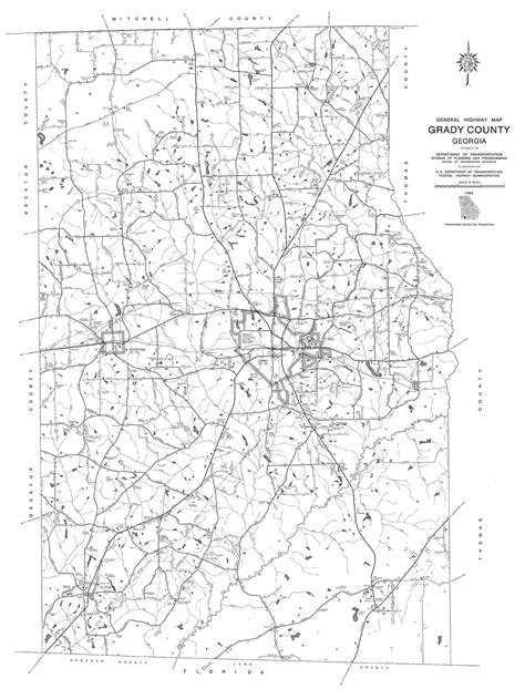 Grady County Records Maps Grady County 1995 Dot Highway Map Georgiainfo