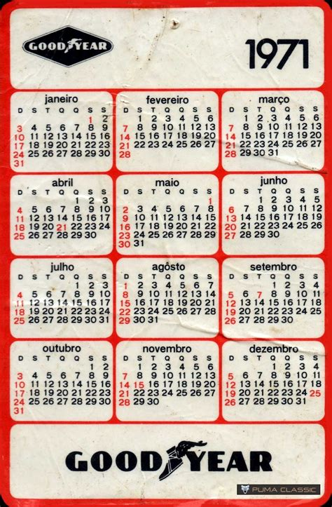 Calendario De 1971 Classic Calend 225 Rios Goodyear 1971