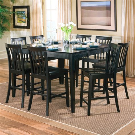 black color wood square dining room table seats 8 with