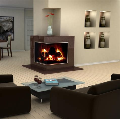 room fireplace modern design idea for two sided corner fireplace living