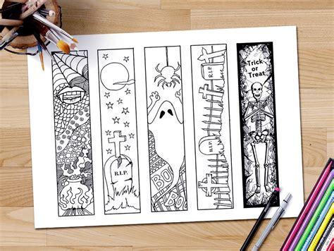 printable halloween bookmarks black white halloween bookmarks adult coloring page halloween coloring