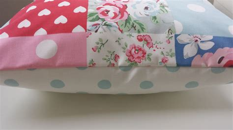 Cath Kidston Patchwork - cushion cover in cath kidston patchwork and aqua spot 14