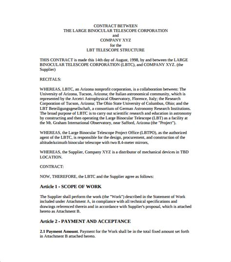 template agreement between two sle contract agreement 52 free documents in
