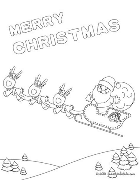 Christmas Sleigh Coloring Pages Hellokids Com Merry Text Coloring Pages