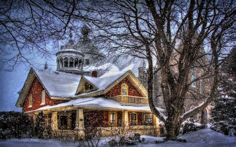 winter houses houses trees snow fantasy style winter christmas house