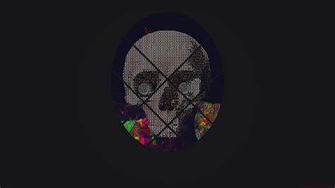 wallpaper skull ascii art abstract glitch art