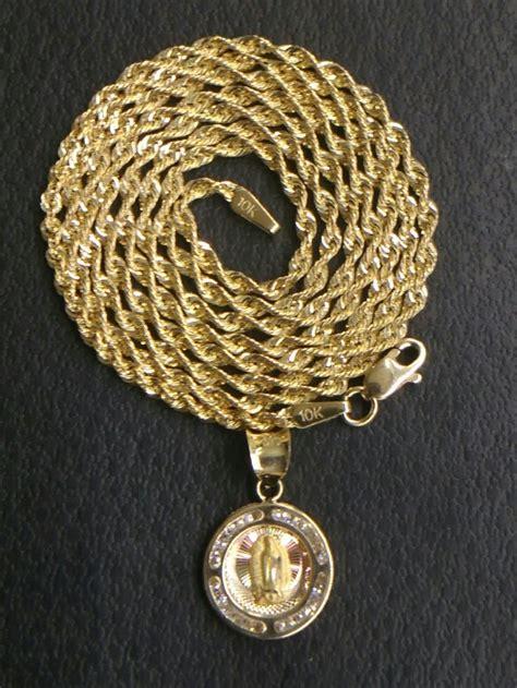 precio de cadena de oro de 10k cadena torzal y medalla de la virgen en oro de 10kt 60cm