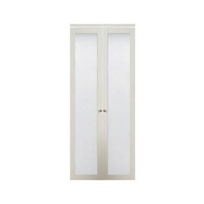 Glass Closet Doors Home Depot Truporte 36 In X 80 In 3010 Series 1 Lite Tempered Frosted Glass Composite White Interior
