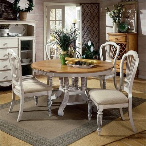 Antique White Dining Table Set Hillsdale Wilshire 5 Dining Table Set In Antique White 4508dtbrndc5