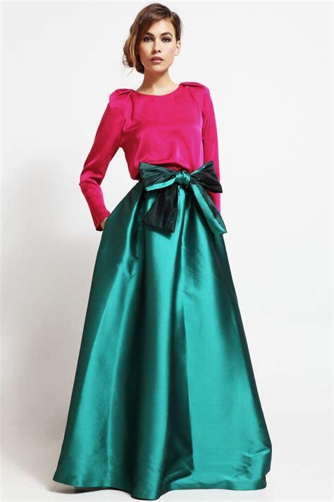 faldas y blusas para bodas 2016 conjunto falda larga volumen saten verde y blusa mangas
