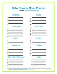 baby shower templates on shopping list