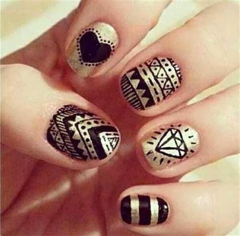 Easy Nail Art Gold | fingernail designs cute nail designs