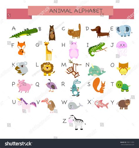 alphabet with animals stock vector alphabet animals stock vector 378111055