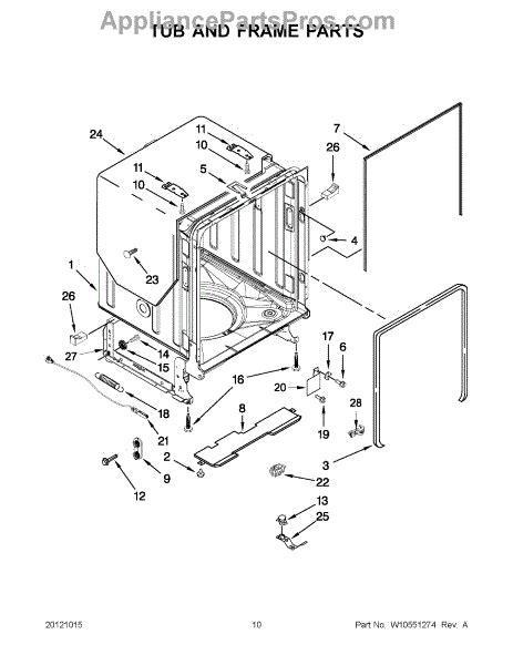 jenn air dishwasher parts diagram parts for jenn air jdb8200aws1 tub and frame parts