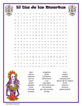 Dead Search Day Of The Dead Word Search Dia De Los Muertos