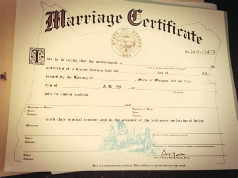 State Of Oregon Marriage License Records Oregon Marriage Certificate Beautiful Ferree Wedding