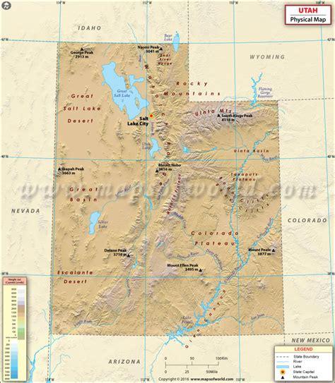 utah usa map physical map of utah
