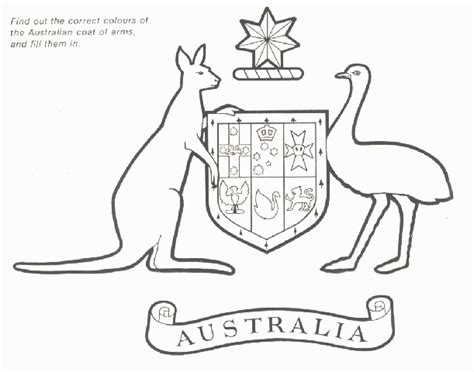 Symbols Of Australia Australian Coat Of Arms Rikki S Australian Coat Of Arms Colouring Page