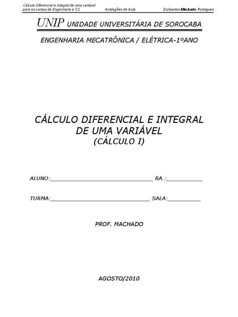 01. CÁLCULO DIFERENCIAL E INTEGRAL DE UMA VARIÁVEL
