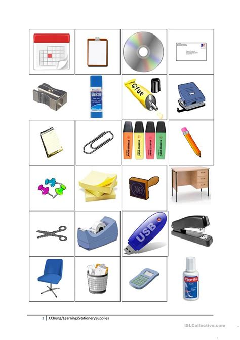 printable stationary worksheet classroom objects and stationery worksheet free esl