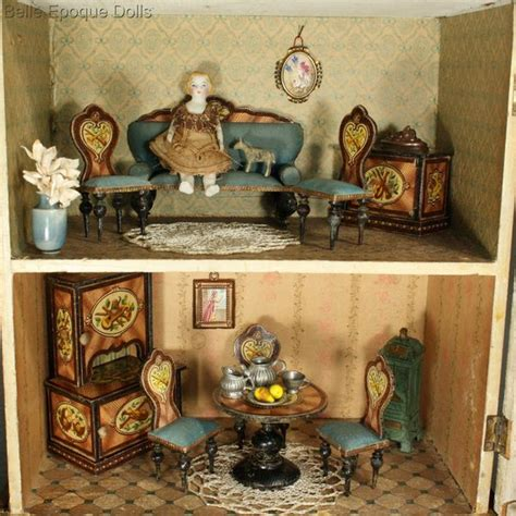 antique dolls house antique dolls houses rooms fully furnished blue roof dollhouse for the french market by