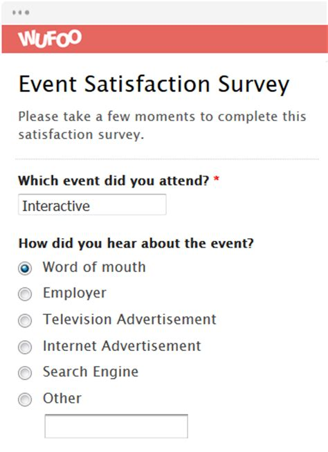Seminar Survey Template by Form Template Wufoo
