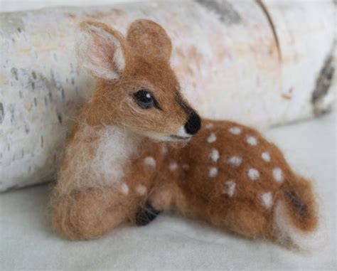 needle felted deer fawn curled  laying  soft alpaca etsy