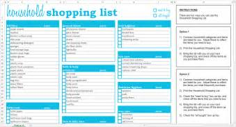 Shopping Lists Template by Household Shopping List Excel Template Savvy Spreadsheets