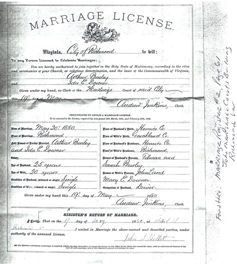 Marriage Records Virginia Burley Family Marriage Records