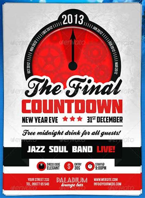 20 New Year Flyers To Promote New Year S Eve Party Countdown Poster Template