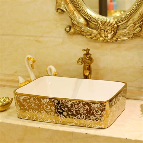 Buy Bathroom Sinks by Aliexpress Buy Gold Color Bathroom Cloakroom Ceramic