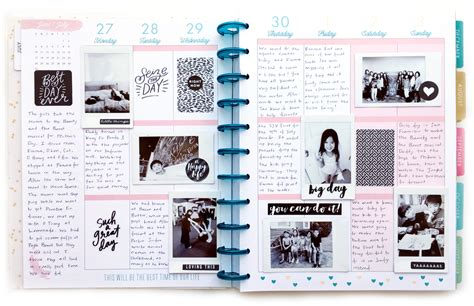 journal blog layout black white memory keeping in the big happy planner