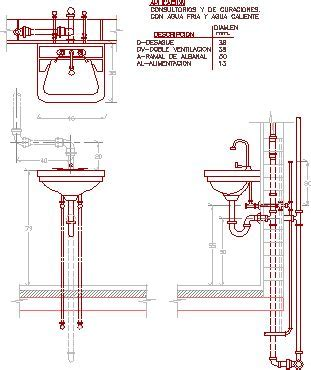 Detail Wash Basin Connection DWG Detail for AutoCAD