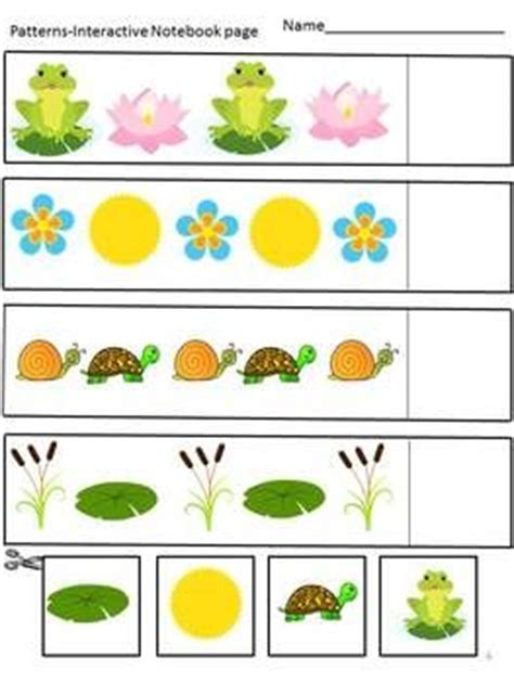 interactive pattern games for preschoolers interactive notebook spring fun math cut and paste cut