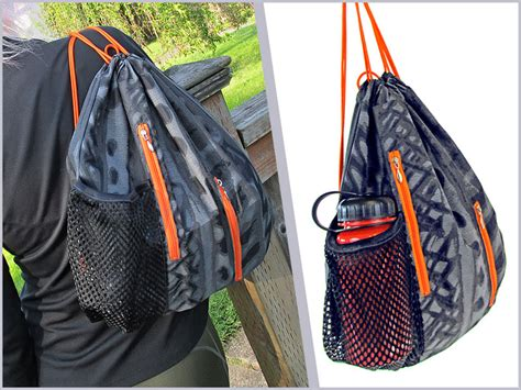 backpack storage solutions sporty string backpack with vertical zip pockets sew4home