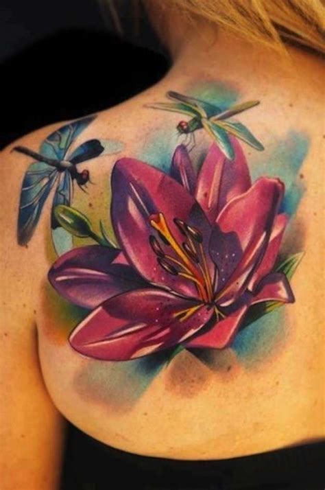 tattoo flower com latest 3d lotus flower with dragonfly tattoo on girl left