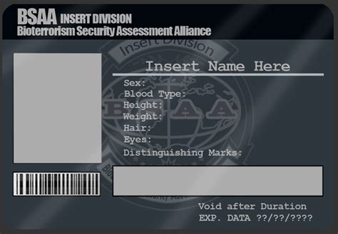 security id card template bsaa id card template by mangapip on deviantart