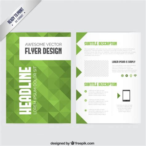 green brochure template brochure template with green geometric vector free