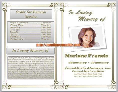 funeral programs templates microsoft word funeral booklet template images