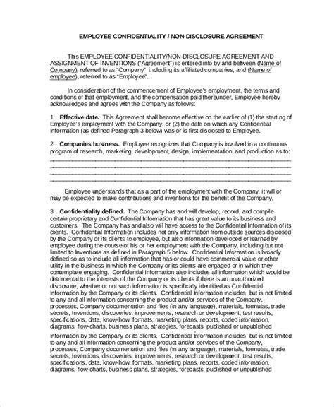 employment confidentiality agreement template confidentiality agreement template 12 free pdf word