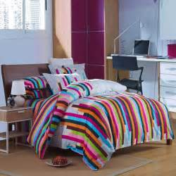 rainbow colored stripes printed duvet cover set sale