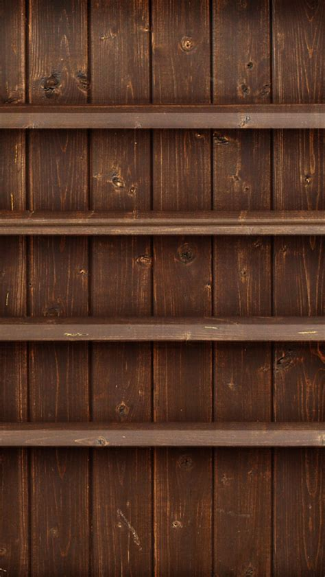 dark brown wood shelves iphone  wallpaper hd