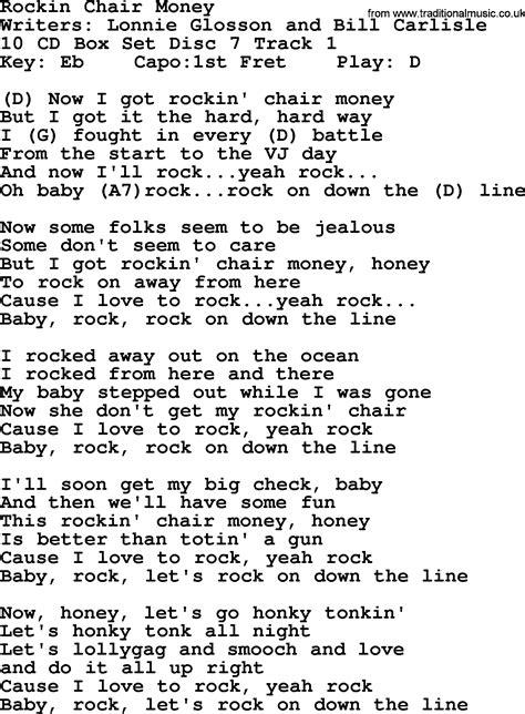 Z Chair Lyrics by Hank Williams Song Rockin Chair Money Lyrics And Chords