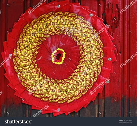 new year packet fan packet known as ang pow arranged in a circular