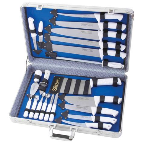 professional kitchen knives set slitzer 22 cutlery kitchen professional chef knife set with storage ebay
