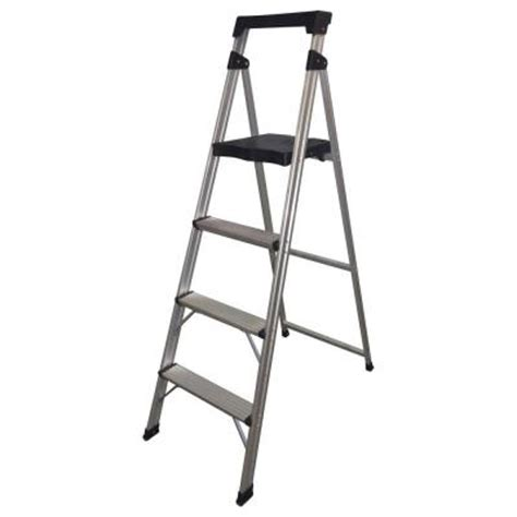 Home Depot Step Stool by Easy Reach By Gorilla Ladders 4 Step Aluminum Ultra Light Step Stool Ladder With 225 Lb Load
